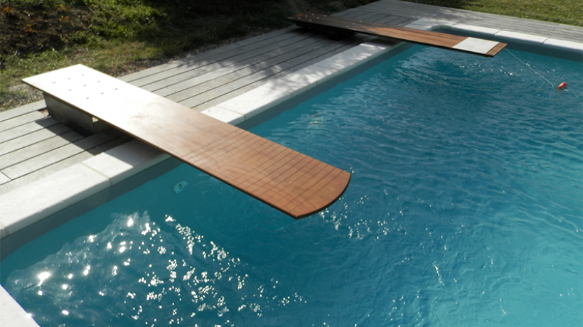 Wooden diving board luxury pools builders designers - Luxury above ground pools ...