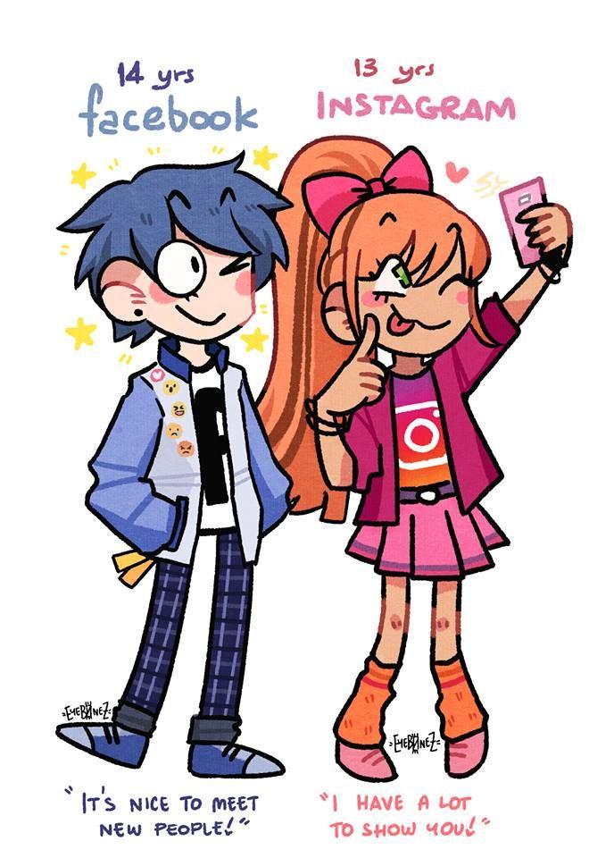 Social Media Platforms As Comic Characters Desenhos Aleatorios