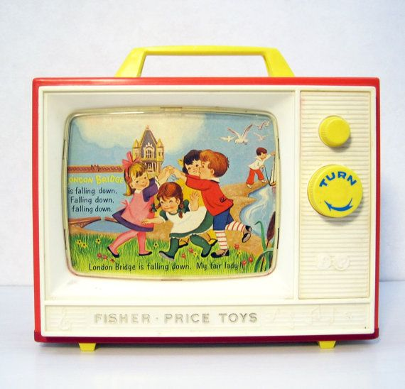 Vintage Fisher Price Two Tune Tv 1964 Working 114 Music Box 50th