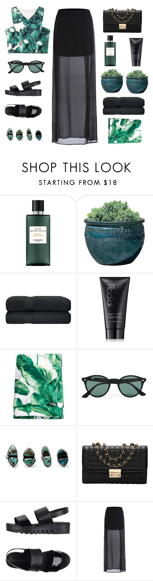 """""""Untitled #39"""" by lannaswilley ❤ liked on Polyvore featuring Hermès, Campania International, Rodial, H&M, Ray-Ban, Child Of Wild and Jeffrey Campbell"""