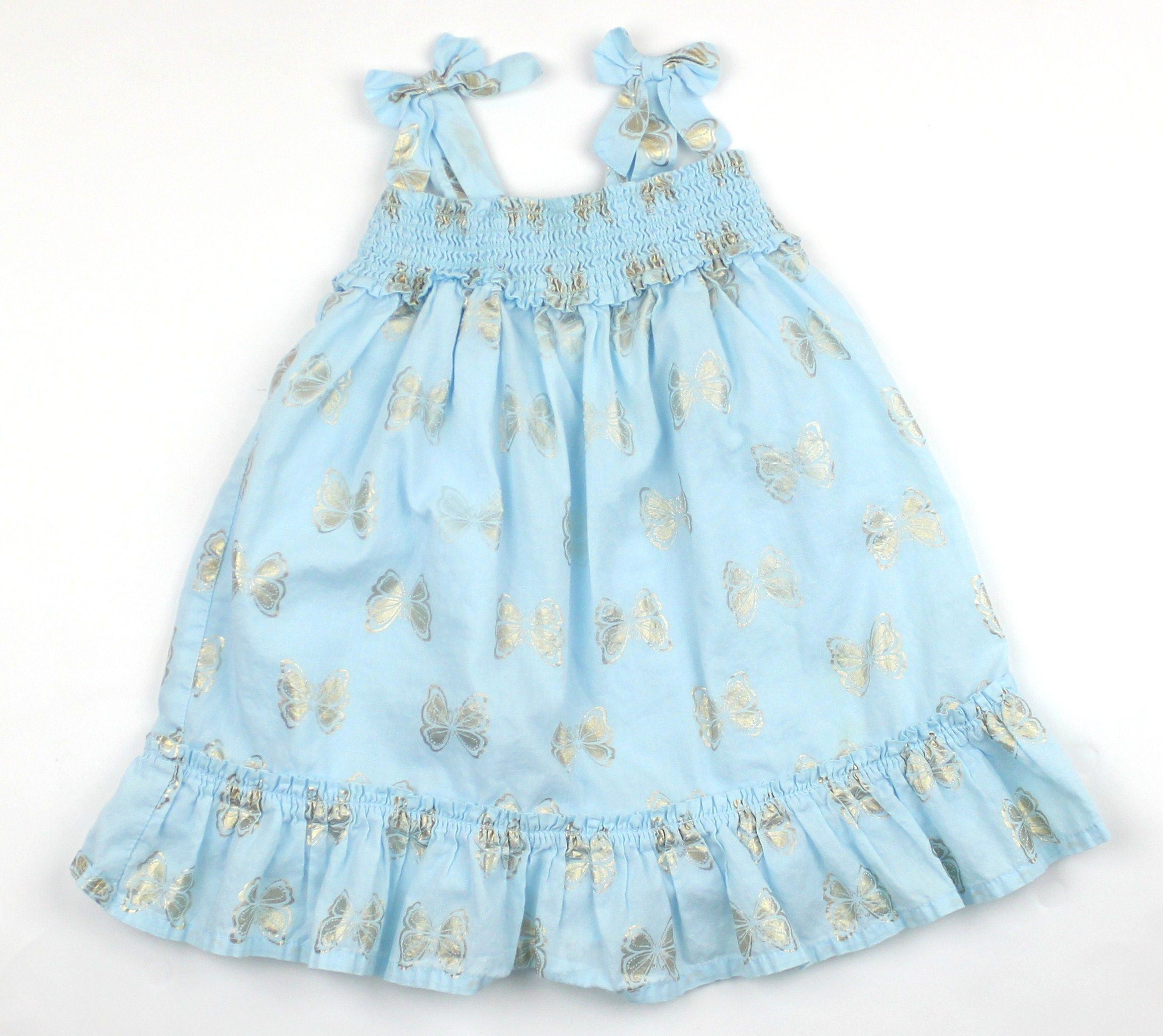 13812b9913cd Toddler Girl Light Blue Summer Dress with Gold Butterflies in Size 12-18  Months by Childrens Place and Only  5 Online at May Bug Treasures Resale