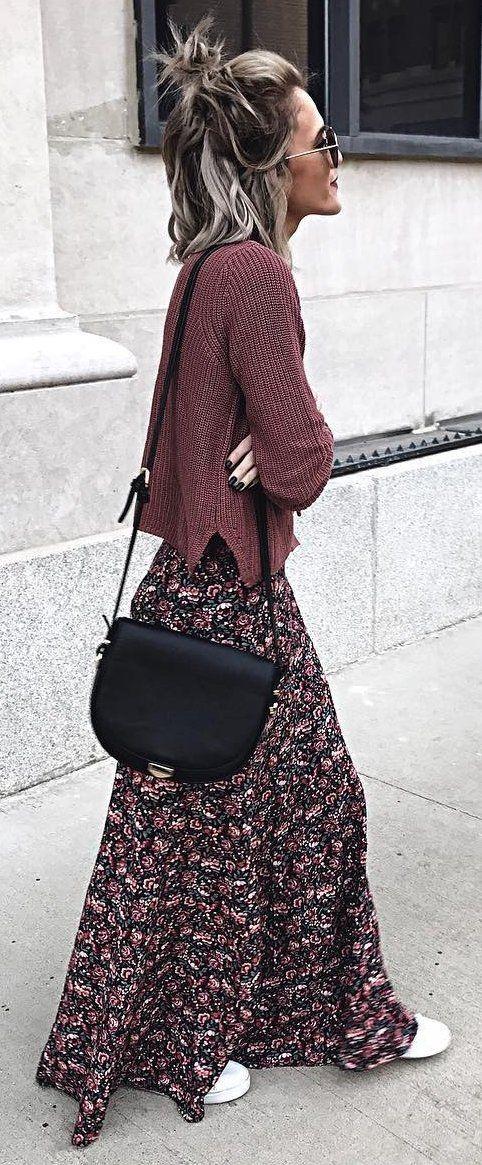 winter  fashion   Brown Knit + Printed Maxi Skirt + Black Shoulder Bag d7f178bd6e