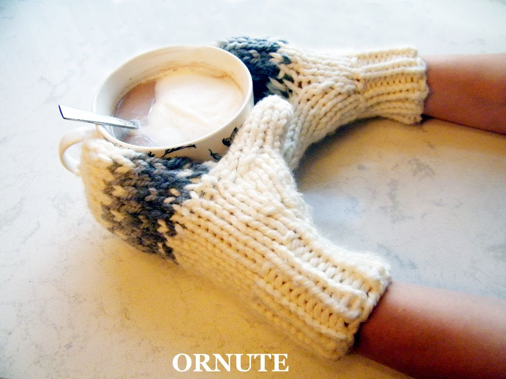 Chunky knit fair isle ombre mittens hand knitted by Ornute ...