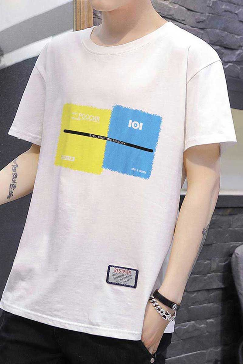 White short sleeve t shirt color block pattern print (With