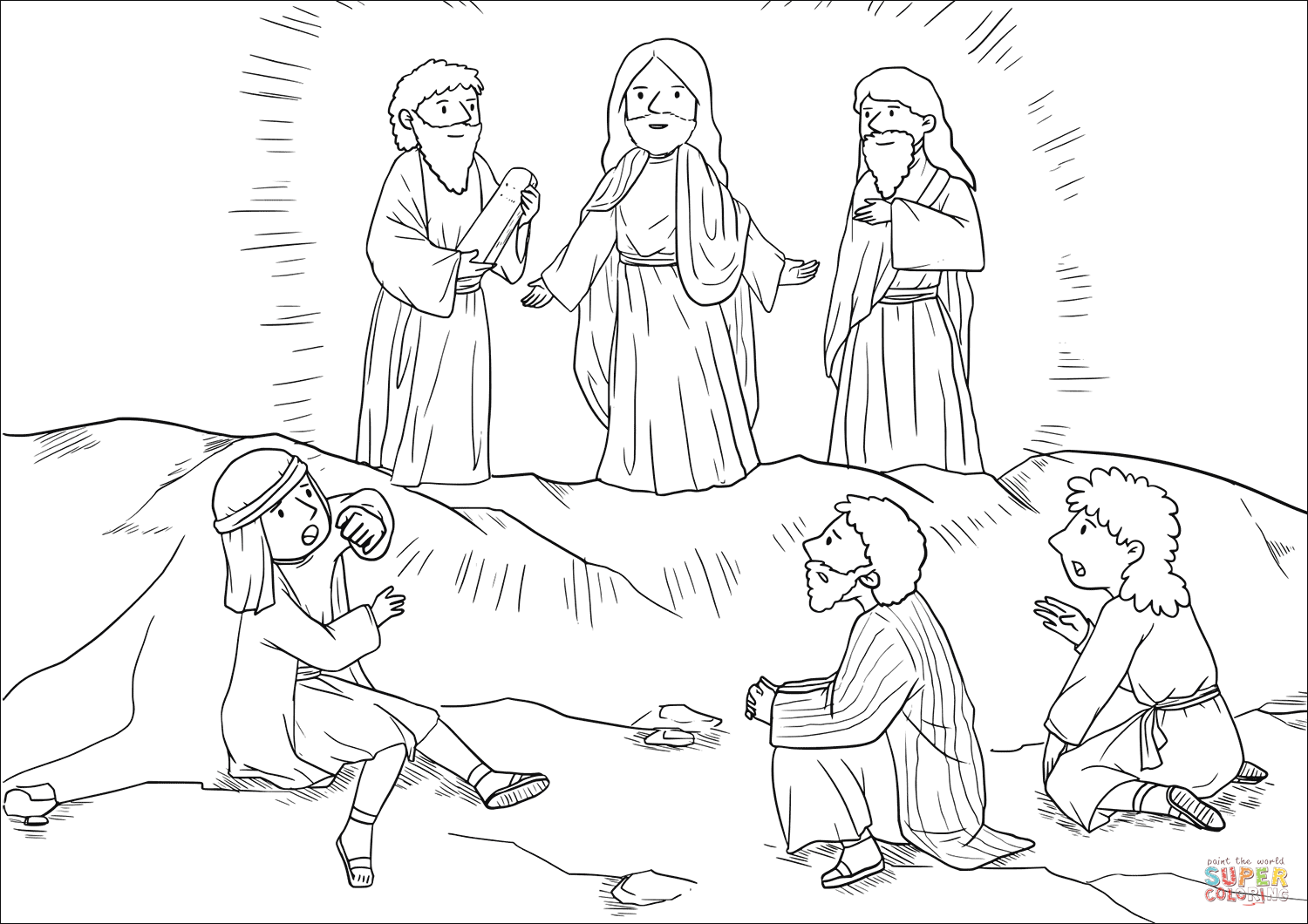 Moses And Elijah Appeared Before Them Talking With Jesus Coloring Page Free Printa Jesus Coloring Pages Sunday School Coloring Pages Transfiguration Of Jesus