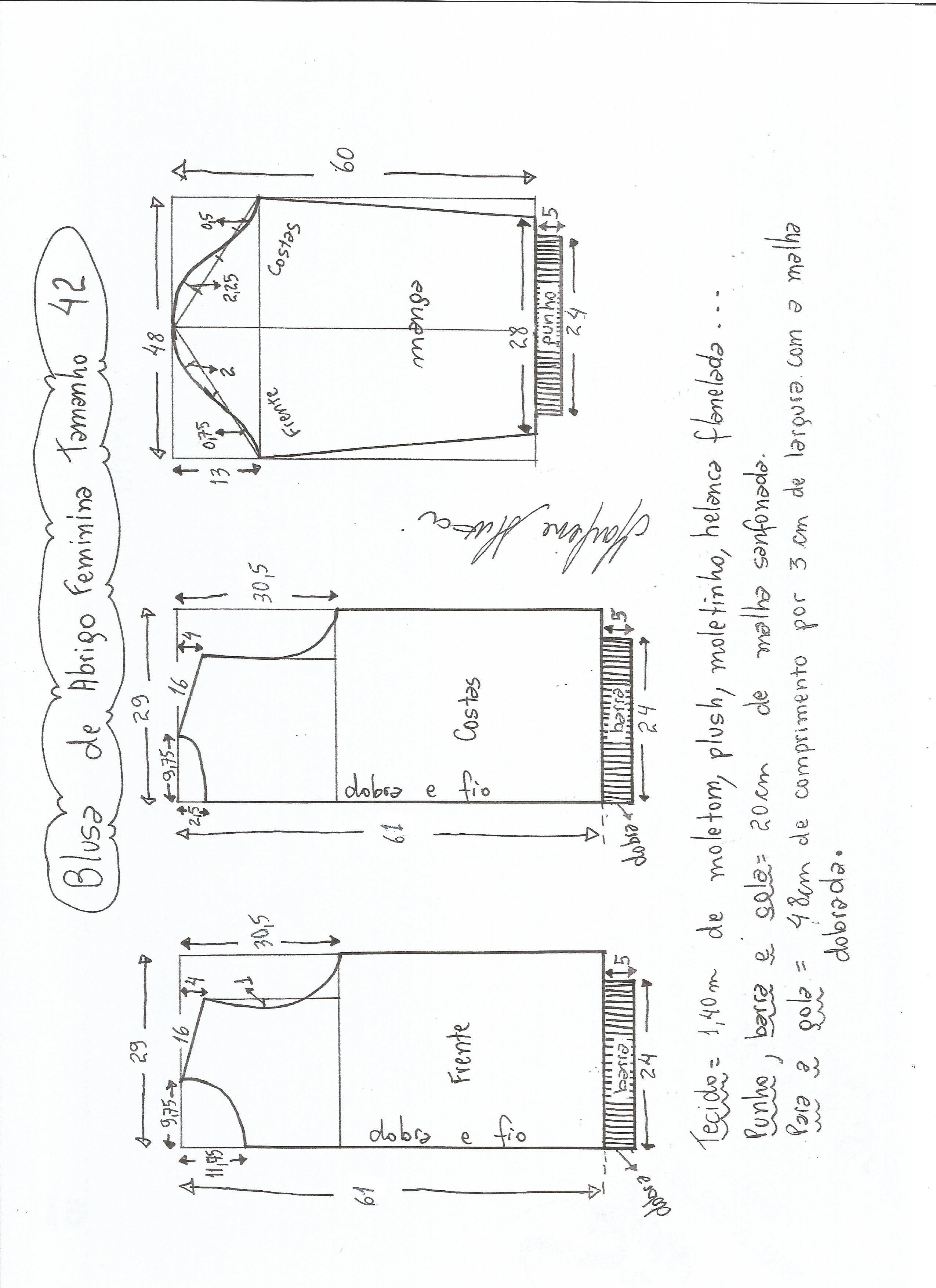 Esquema de modelagem de blusa  de moletom tamanho 42.