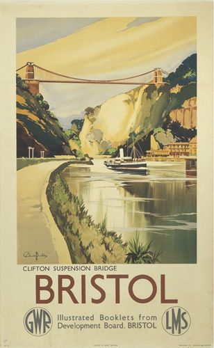 BRISTOL GWR LMS RAILWAY POSTER METAL SIGN CLIFTON SUSPENSION BRIDGE BUCKLE