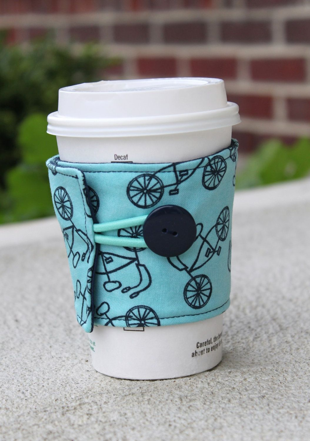 Coffee cup cozy with lucys crab shack fabric with