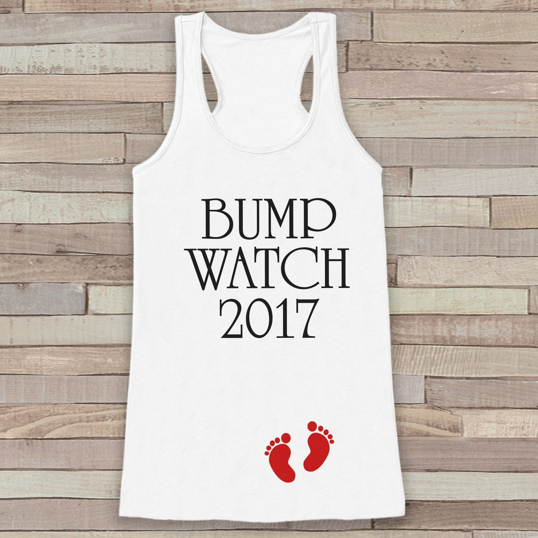 Bump Watch 2017 Tank Top - Baby Feet Shirt - Womens Tank Top - Happy New Year Tank - White Tank - Pregnancy Announcement - Baby Reveal Idea