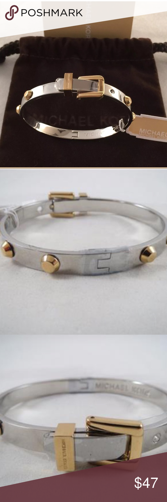🆕 Michael Kors Bracelet New with tags Michael Kors women's bracelet. Silver tone with gold tone studs. 100% authentic. Includes original MK pouch bag and care instructions. Michael Kors Jewelry Bracelets