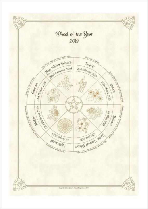 Pagan Calendar.Wheel Of The Year Pagan Wiccan Sabbat Calendar 2019 Products