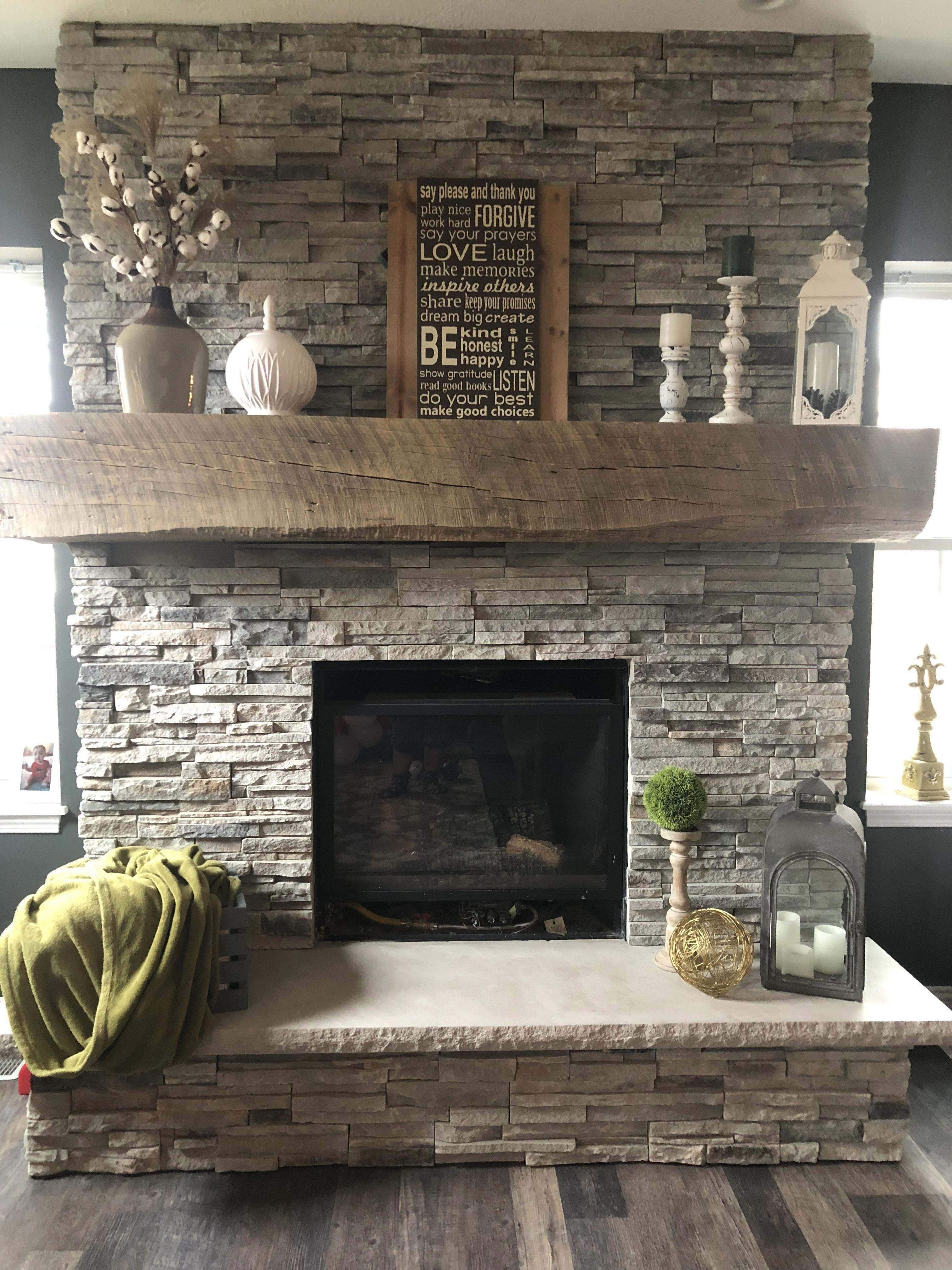 Stone Fireplace With Barn Mantle