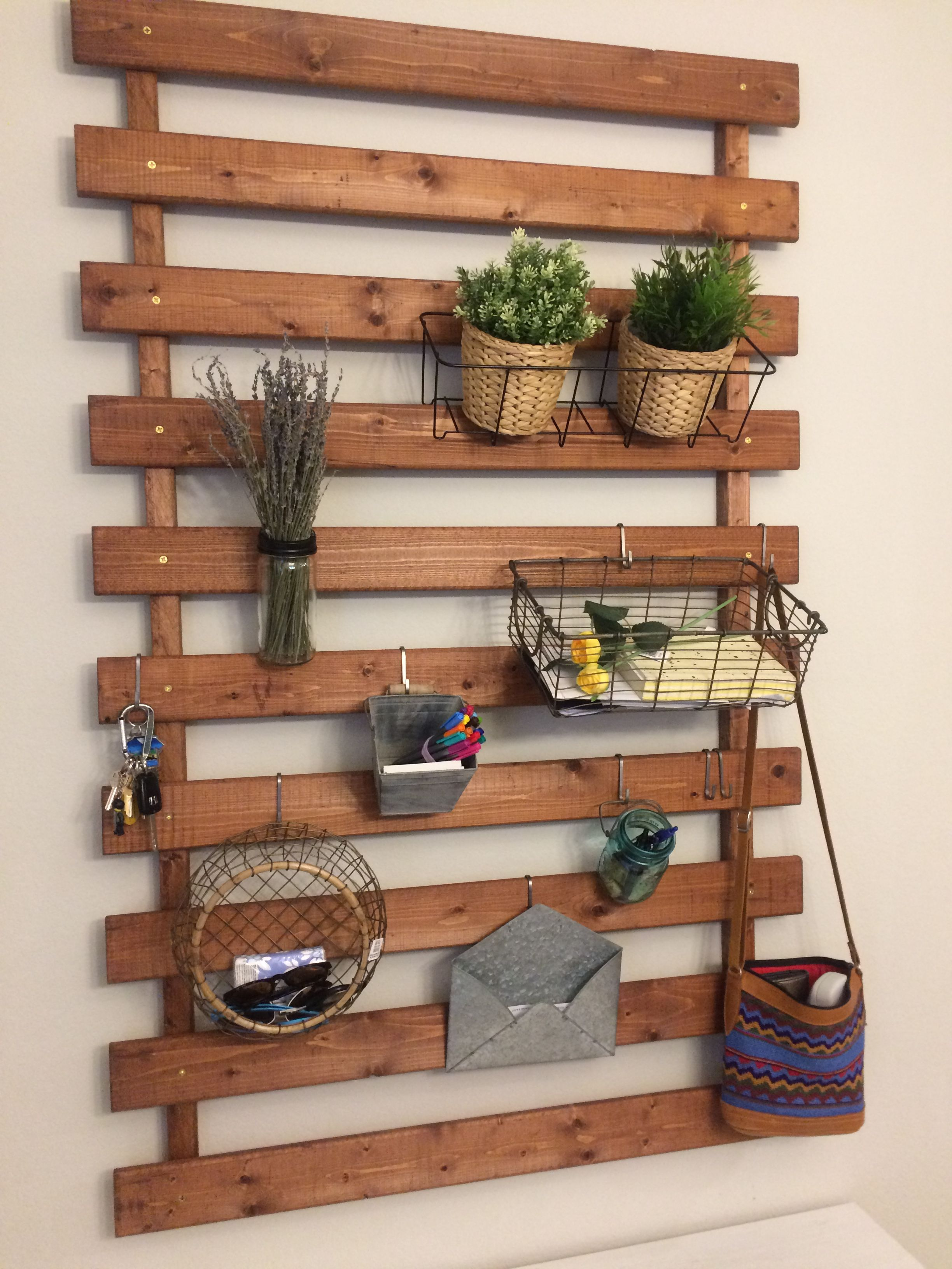 Repurposed Ikea Bed Slats Stained Drilled Into 1 X1 Boards