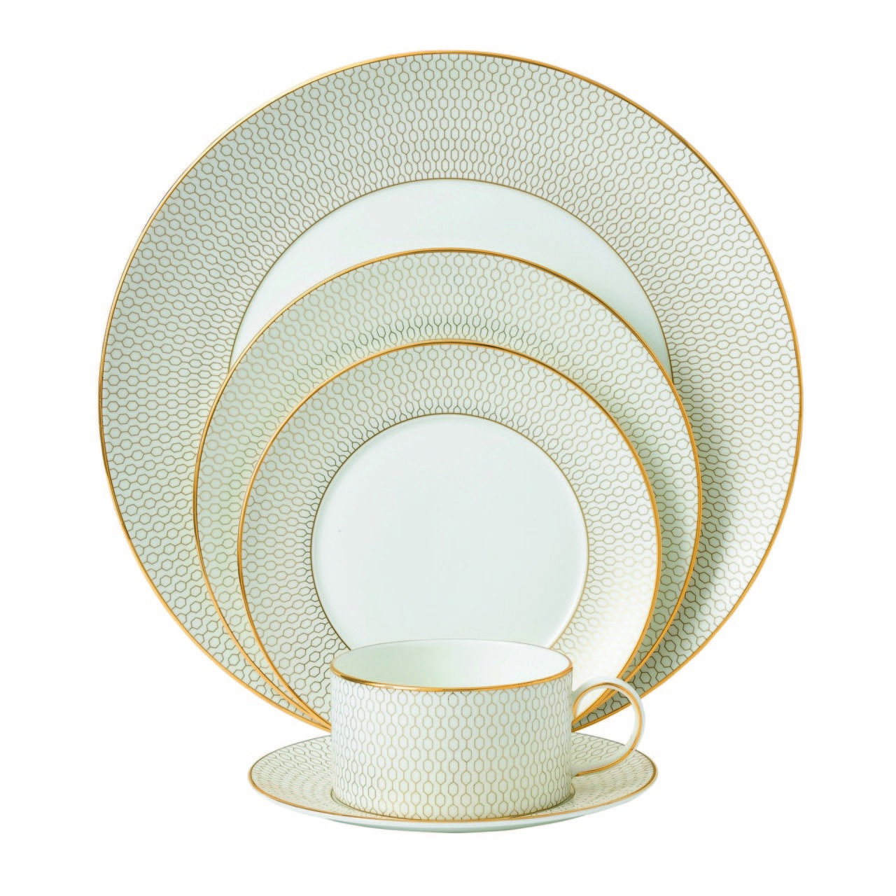 The 5 piece Arris place setting is all you need to create a classy atmosphere. The honeycomb design around the plates a classic Arris collection feature ...  sc 1 st  Pinterest & Arris 5 Piece Place Setting - Vaudeville | Gold Digger | Pinterest ...