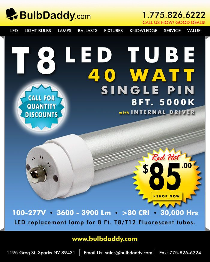 T8 Led Tube 8 Ft 40 Watt
