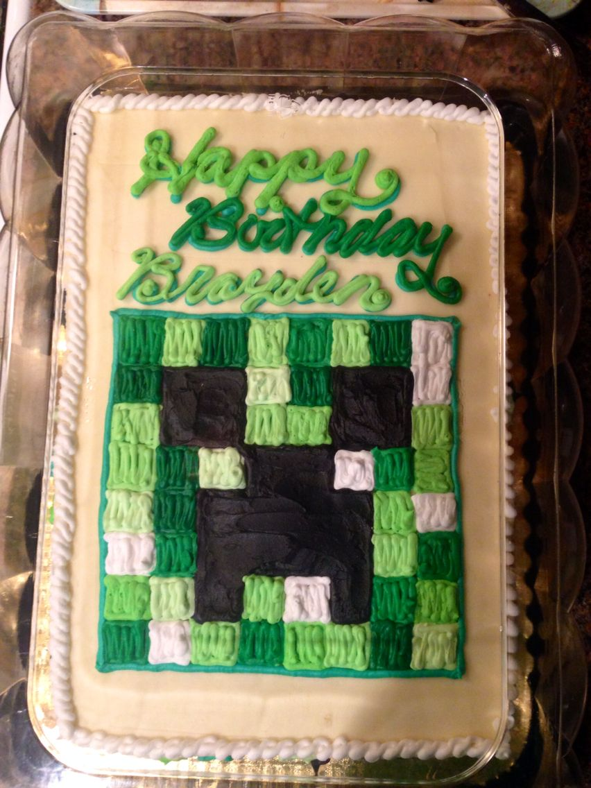 Simple Minecraft Birthday Cake Simple Flat Sheet Cake With