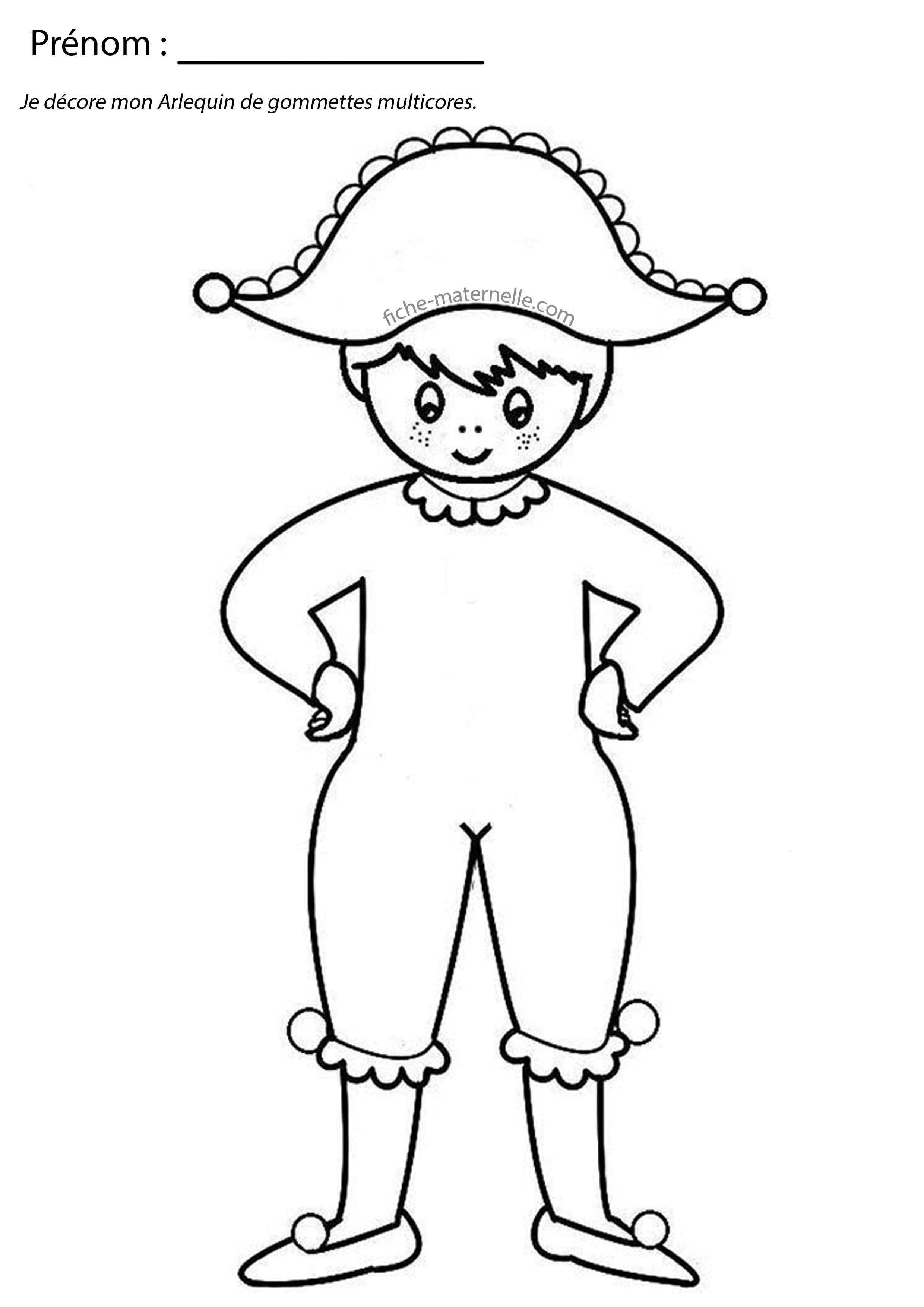 Activit graphique en classe karneval - Coloriage arlequin maternelle ...