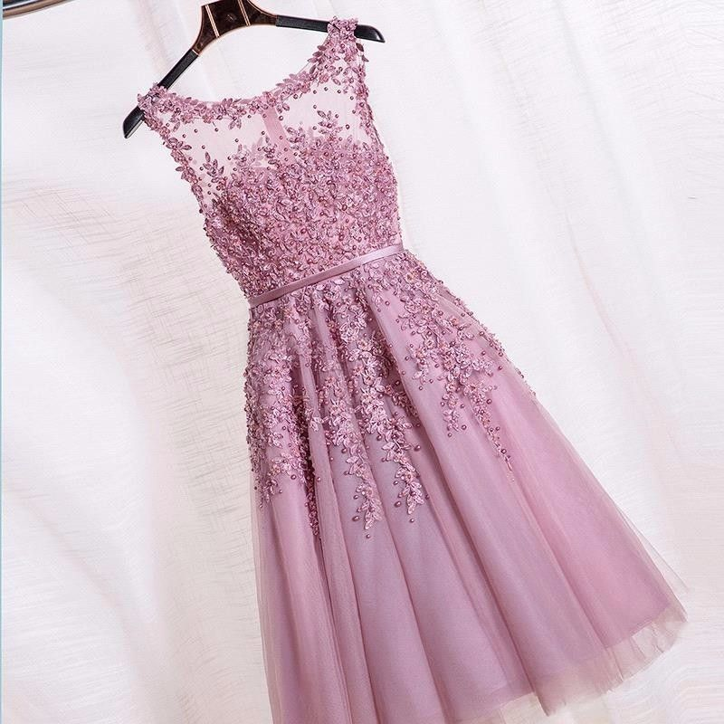 2016 Real photos Dust Pink Beaded Lace Appliques Short Prom Dresses ...