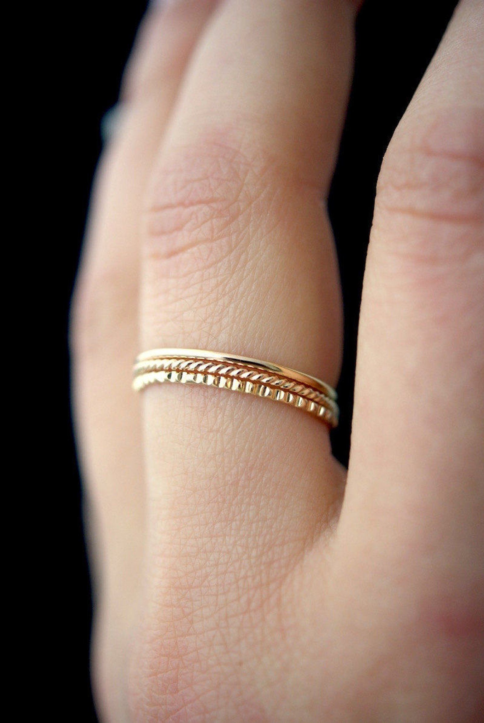 f7d8845b86fba Mixed Texture Gold stacking ring set, gold stack ring, ring set ...