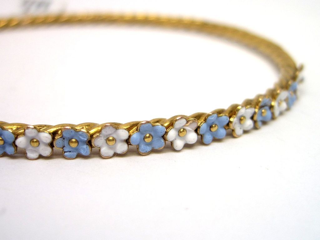 Victorian blue u white enamel k gold bangle bracelet from