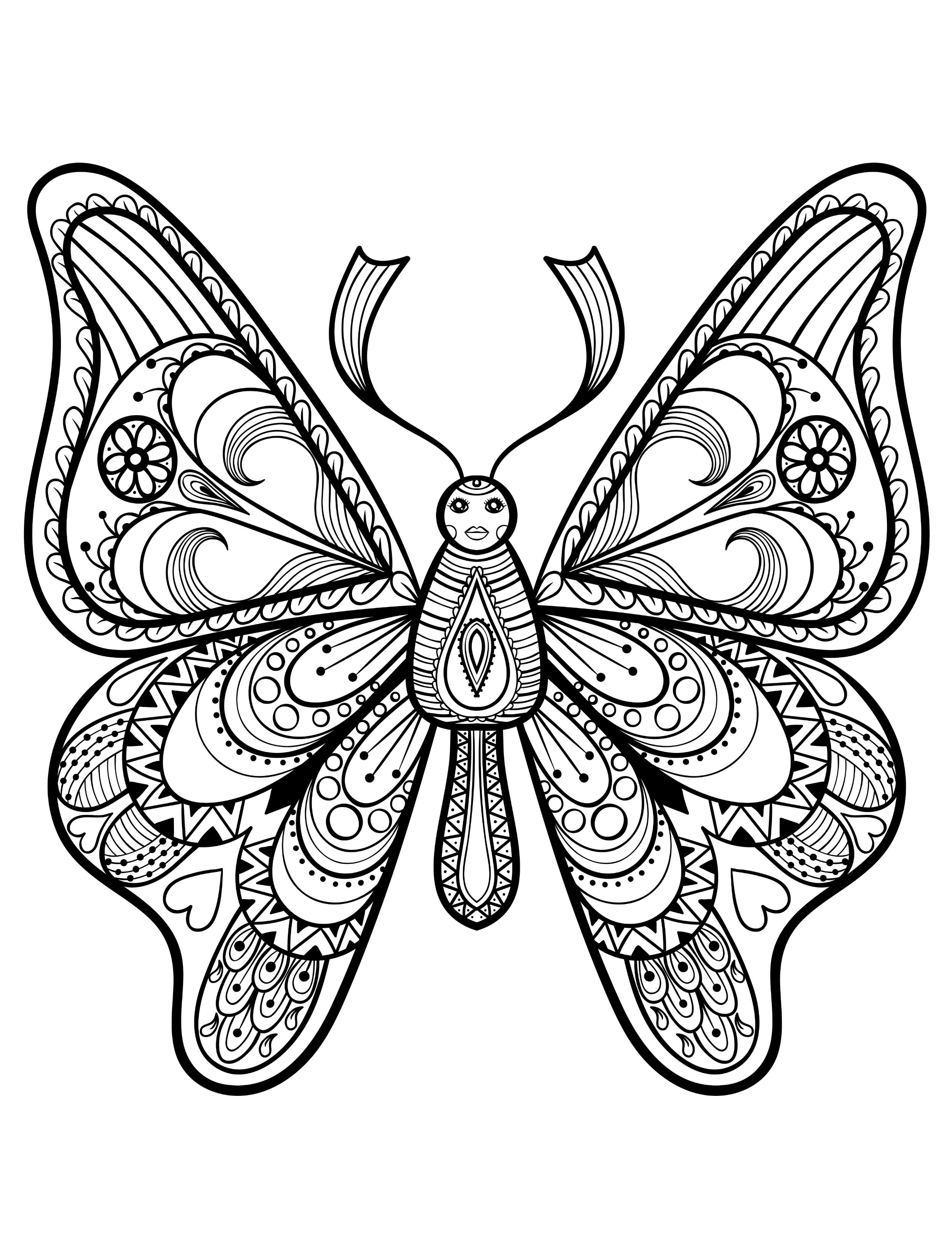 Pretty coloring pages for adults with butterflies pic