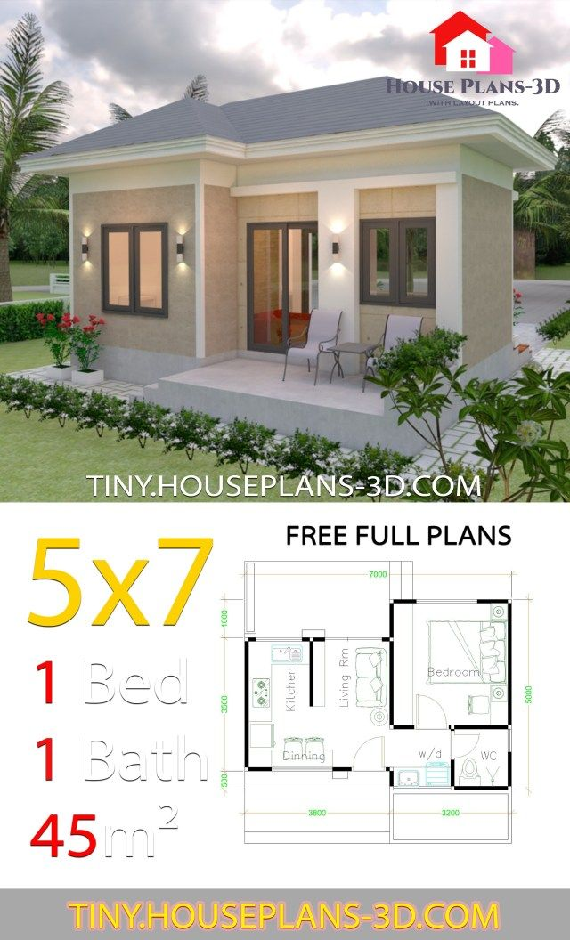Small House Design Plans 5x7 With One Bedroom Hip Roof Tiny House Plans Small House Design Plans One Bedroom House Plans 1 Bedroom House Plans