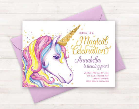 Unicorno Invito Invito Compleanno Unicorn Invito Festa Unicorno
