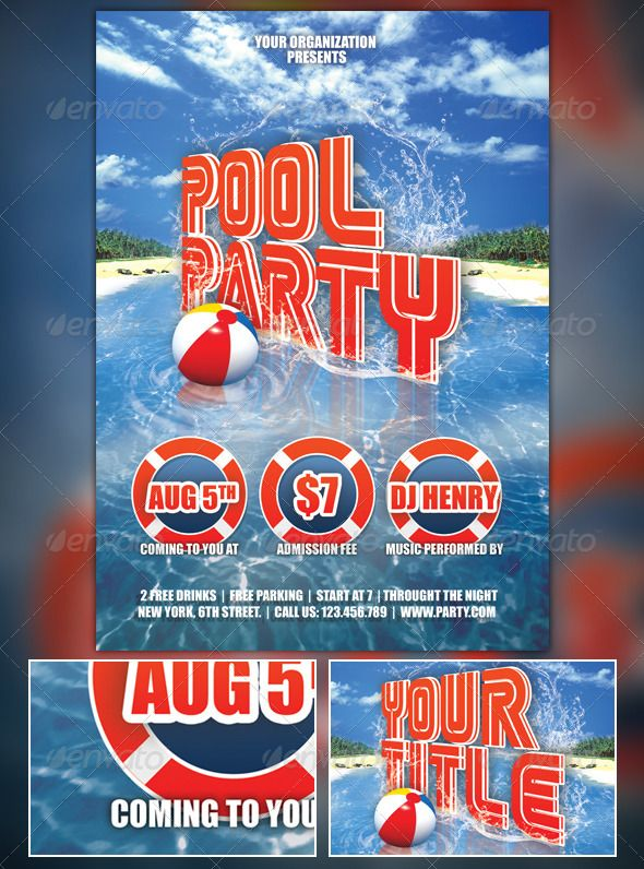 Summer Pool Party Flyer | Summer Pool, Party Flyer And Summer