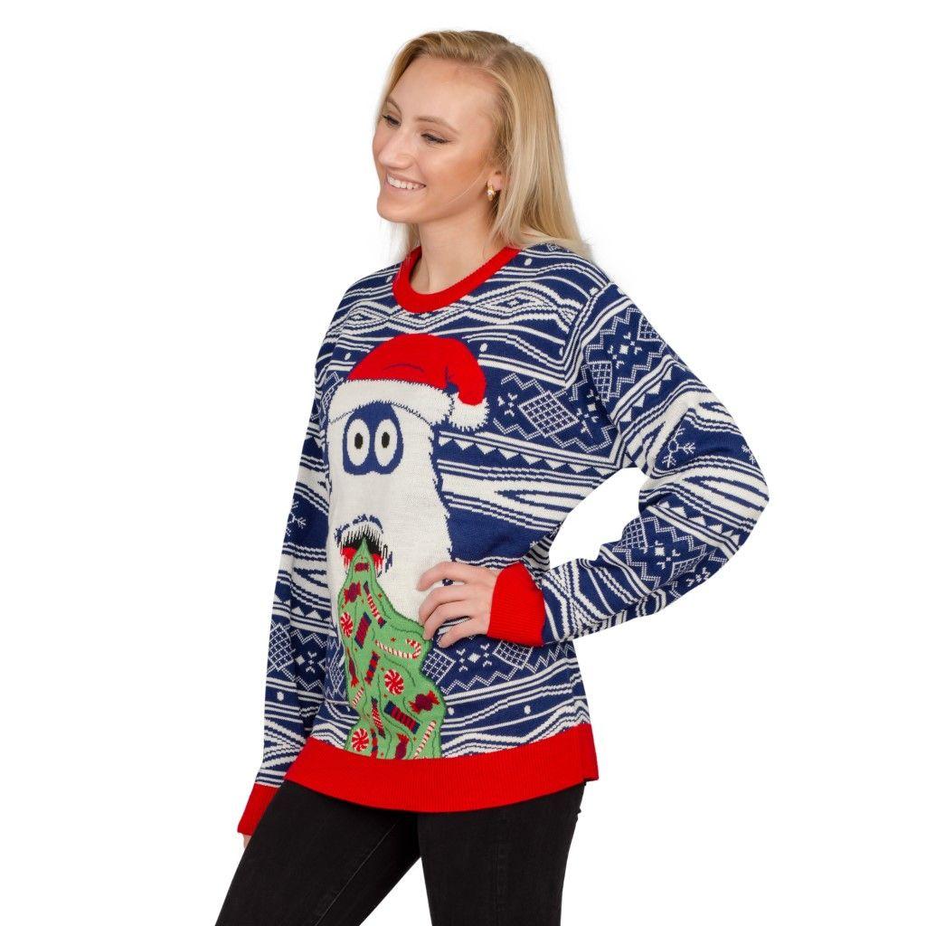 Christmas Tree Sweater Womens: Women's Yeti Santa Hat Throw Up Candy Ugly Christmas