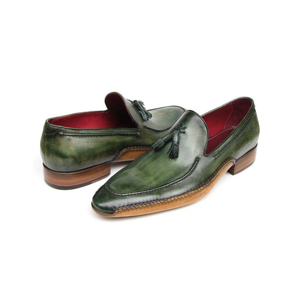 Paul Parkman Men's Side Handsewn Tassel Loafer Green Shoes (ID#082-GREEN)