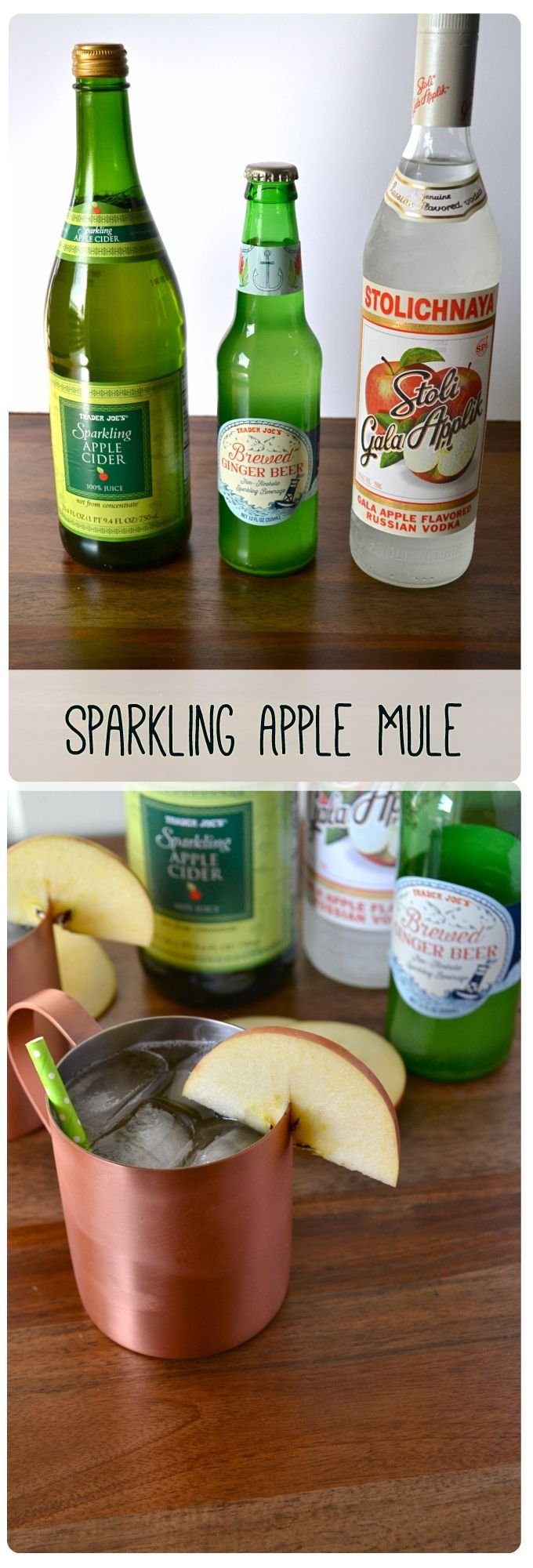 Sparkling Apple Mule! 3 ingredients for the perfect fall cocktail.