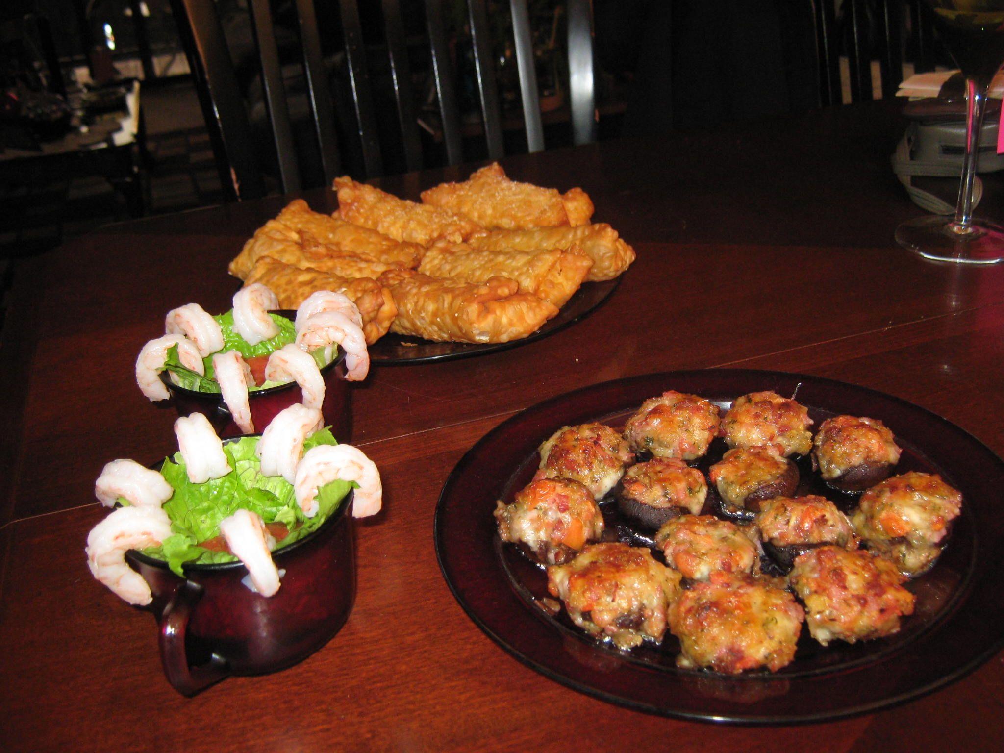 L to R: shrimp cocktail, mini egg rolls and stuffed mushrooms