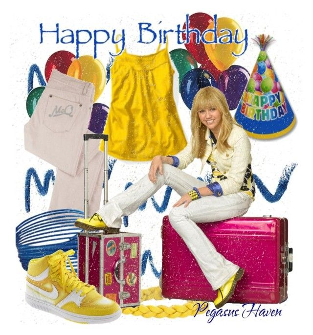 """Happy Birthday Sarah801!!! - Hannah Montana"" by pegasushaven ❤ liked on Polyvore featuring McQ by Alexander McQueen, Nicole, NIKE, miley cyrus, hannah montana, sneakers, nike, high top sneakers, birthday and happy birthday"
