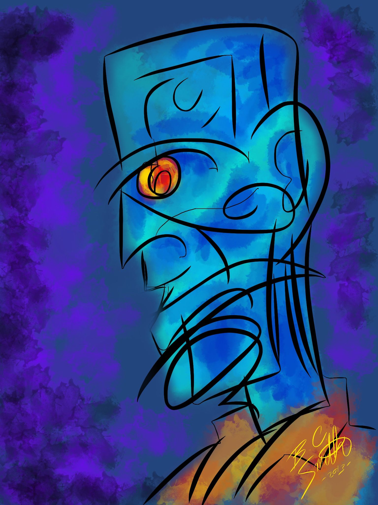 The Blue Man - An Abstract piece  by B.C. Smith 2013 - Created In #procreateapp