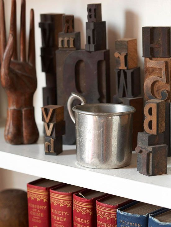 Vintage printing press letters become unique accessories. More ways to use flea market finds: http://www.bhg.com/decorating/decorating-style/flea-market/flea-market-chic-home-accents/?socsrc=bhgpin062212#page=5