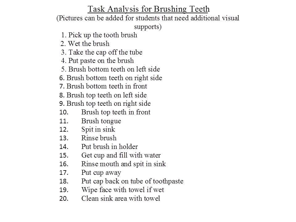 Task Analysis For Brushing Teeth  Behaviors    Brush