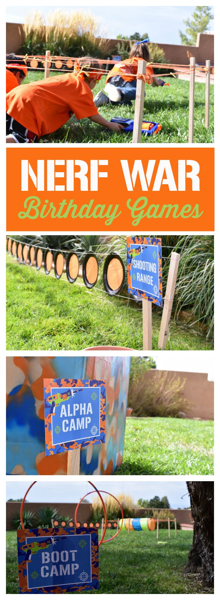 Love these Nerf War Birthday party games