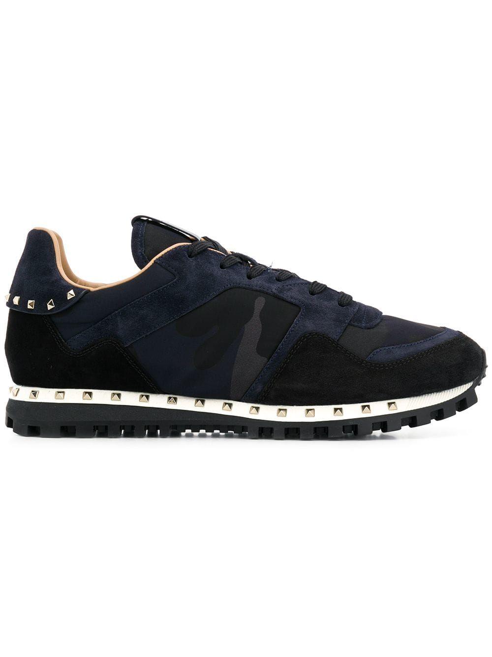 8ce217404d VALENTINO VALENTINO VALENTINO GARAVANI ROCKSTUD CAMOUFLAGE SNEAKERS - BLUE.   valentino  shoes