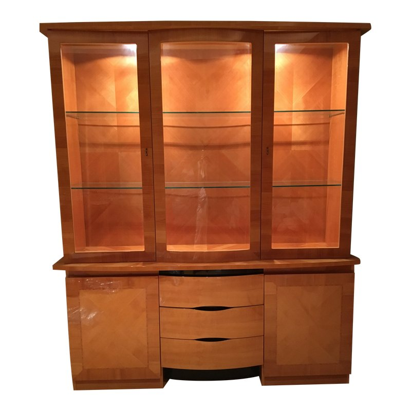 1990s Vintage Excelsior Italian Cherry Wood And Gl China Cabinet 2 Pieces
