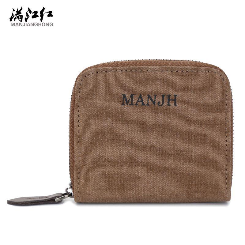 manjianghong  Good quality Washed Cotton Canvas Man Wallets Small Bag  1329