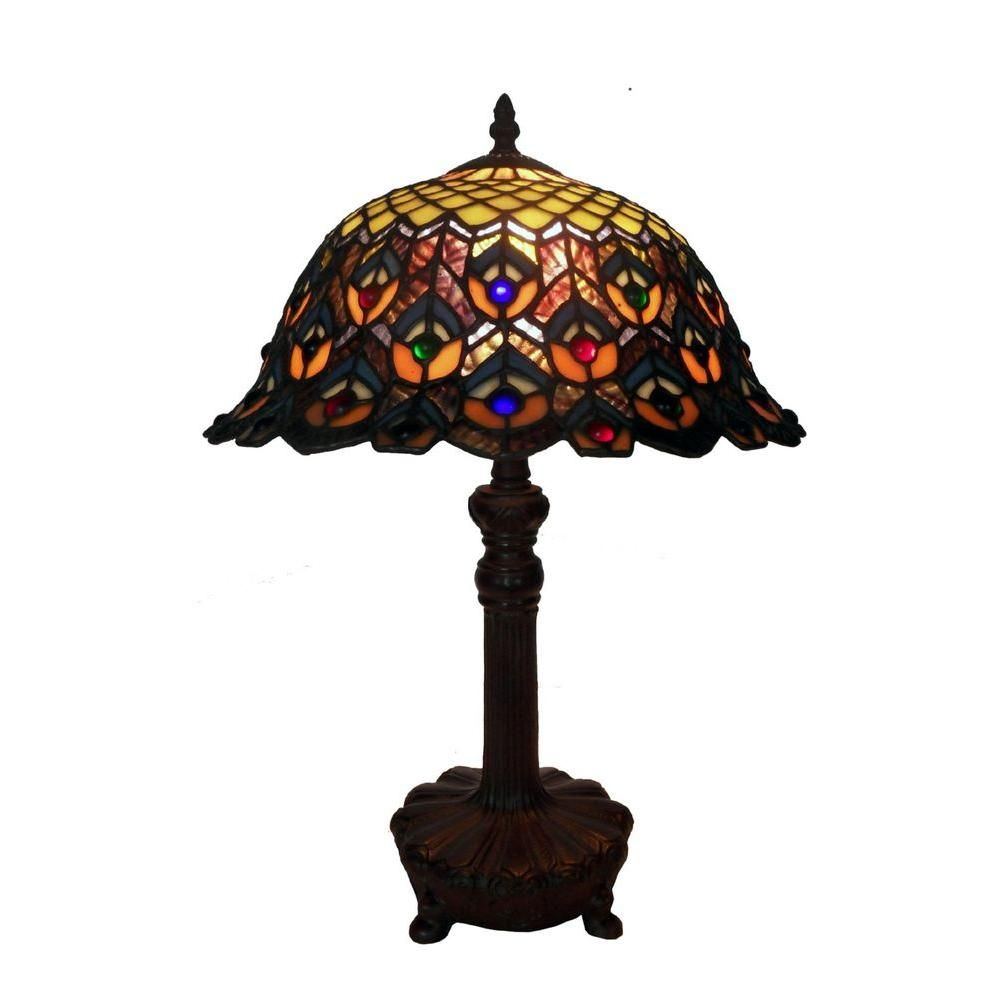 Warehouse Of Tiffany 20 In Peacock Brown Multicolored Table Lamp T14042tgrb In 2020 Tiffany Style Table Lamps Table Lamp Stained Glass Designs