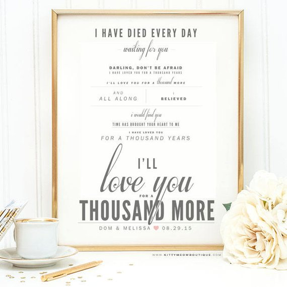 "38 Year Wedding Anniversary Gift: Gray & Blush, Christina Perri ""A Thousand Years"