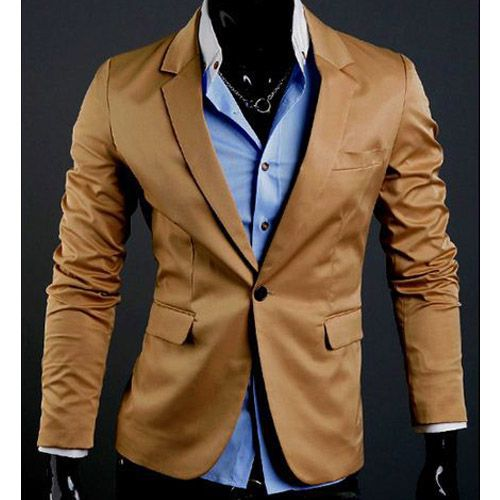 Blazer Fit Formal Camel Chic Jacket Homme Slim Fashion Veste XOxEvwHE