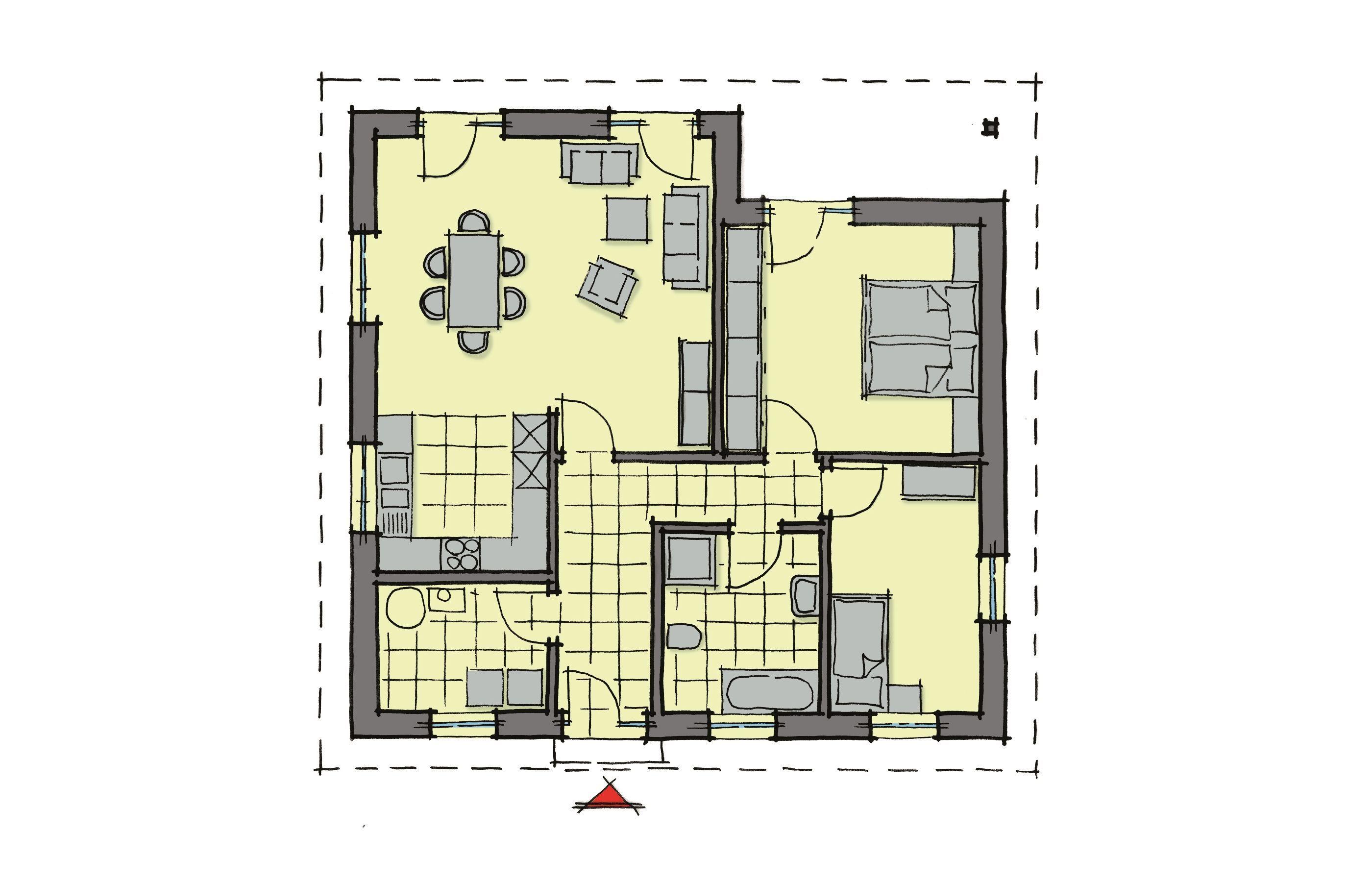 Winkelbungalow Grundriss klein mit Walmdach Architektur, 3