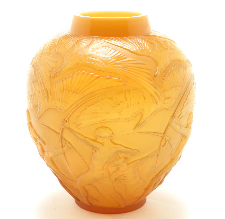René Lalique  'Archers' a Vase, design 1921  caramel and cased opalescent glass, heightened with staining  26.5cm high, moulded 'R. Lalique'