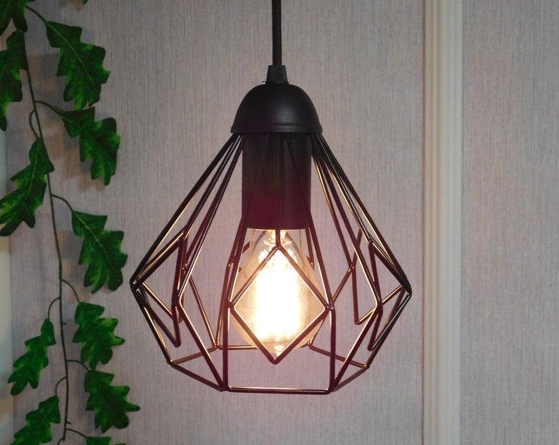 Ceiling Light Industrial Lighting Black Cage Lamp Hanging Etsy In 2020 Ceiling Lights Caged Lamp Metal Pendant Light