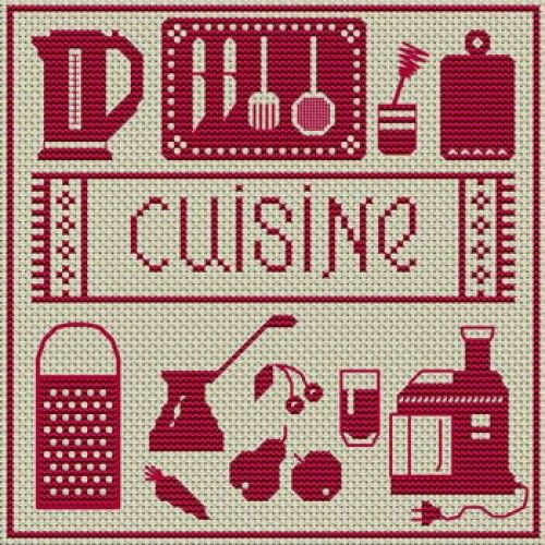 Grille gratuite point de croix ustensile de cuisine - Cuisine et croix roussien ...