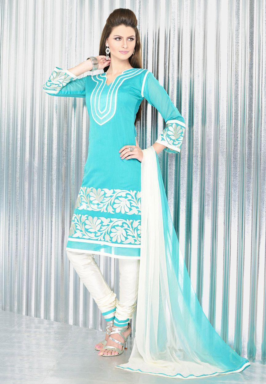 Aqua Blue Chanderi Art Silk Churidar Kameez Online Shopping: KVK332