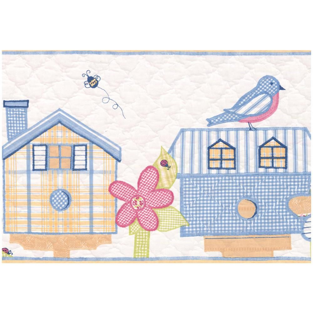 York Wallcoverings Red Teal Yellow Birdhouses Flowers