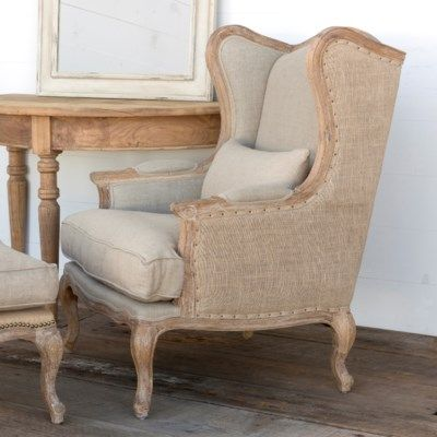 Rae Chair  Painted Fox Home is part of Linen wingback chair - Rae Chair  Perhaps the prettiest piece of farmhouse furniture we have laid eyes on todate   The Rae is a Burlap & Linen Wingback Chair with exquisite nail head  Painted Fox Home